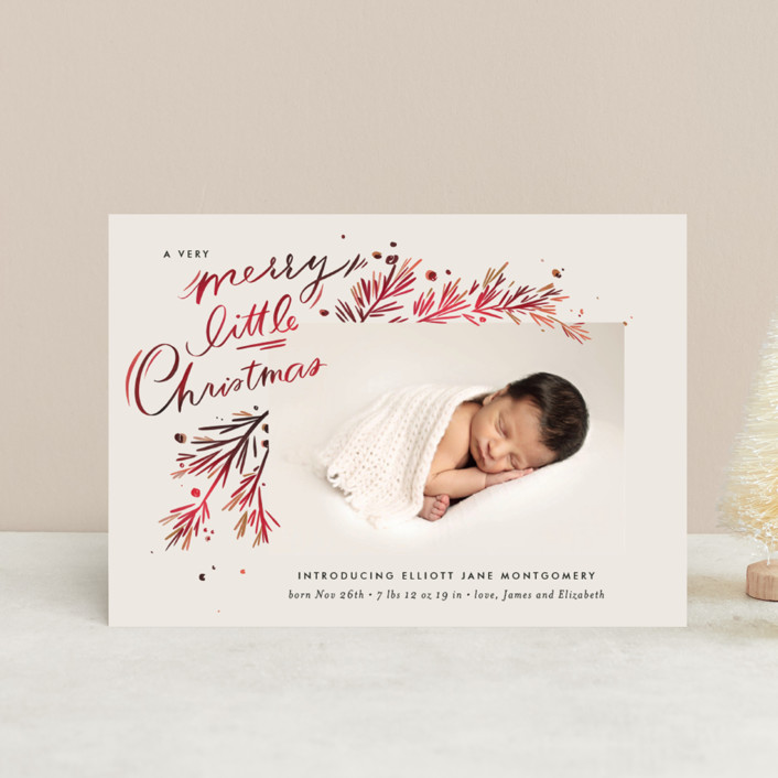 """""""A Little Christmas"""" - Vintage Holiday Birth Announcement Postcards in Scarlet by Julie Murray."""