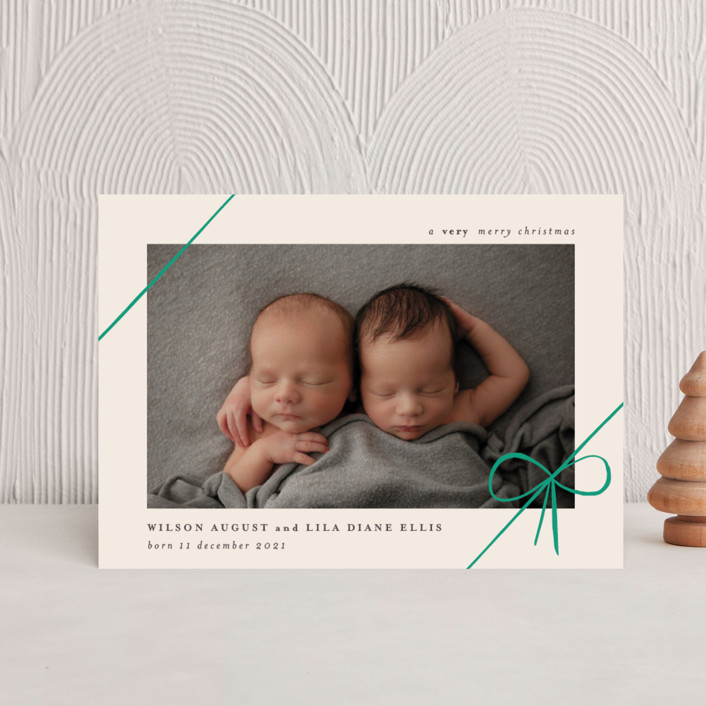 """""""Gifts"""" - Holiday Birth Announcement Postcards in Emerald by Rebecca Daublin."""