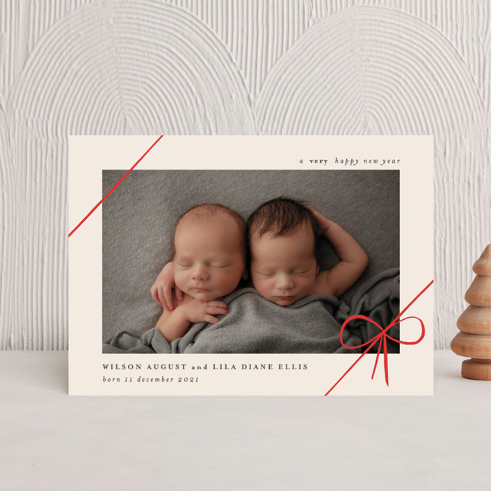 """""""Gifts"""" - Holiday Birth Announcement Postcards in Ruby by Rebecca Daublin."""