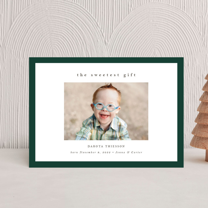 """""""Sweetest Gift"""" - Holiday Birth Announcement Postcards in Forest by Nicole Walsh."""