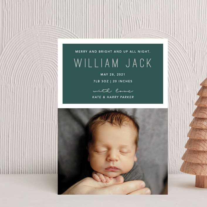 """Up All Night"" - Modern Holiday Birth Announcement Postcards in Juniper by Hudson Meet Rose."