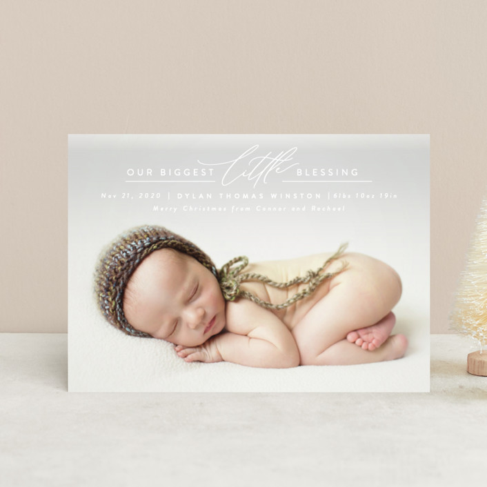 """Biggest Little Blessing"" - Holiday Birth Announcement Postcards in Snow by Ink and Letter."