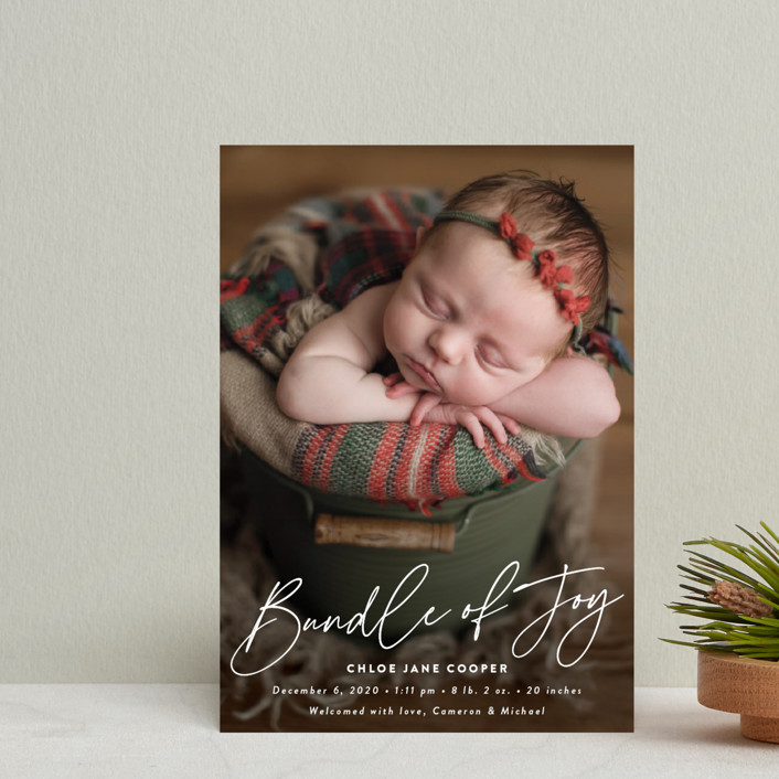 """Joyful Bundle"" - Holiday Birth Announcement Postcards in Winter by Susan Asbill."