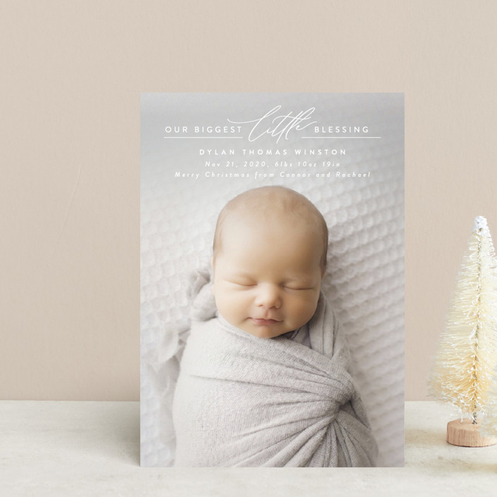 """""""Biggest Little Blessing"""" - Holiday Birth Announcement Postcards in Snow by Ink and Letter."""