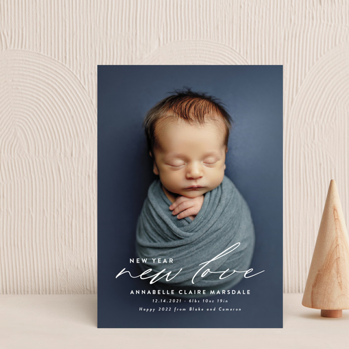 """New Love"" - Holiday Birth Announcement Postcards in Cotton by Ink and Letter."