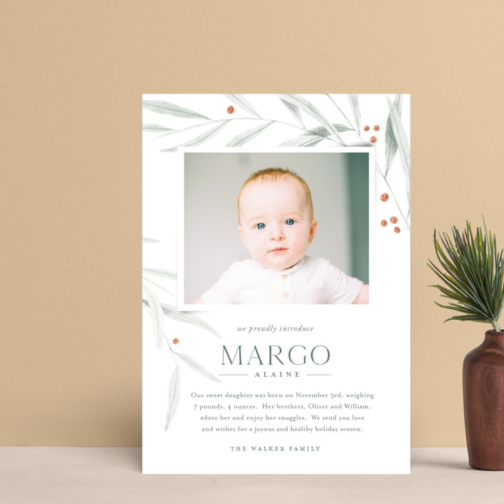 """Joyous Occasion"" - Holiday Birth Announcement Postcards in Sage by Karly Depew of Oscar and Emma."