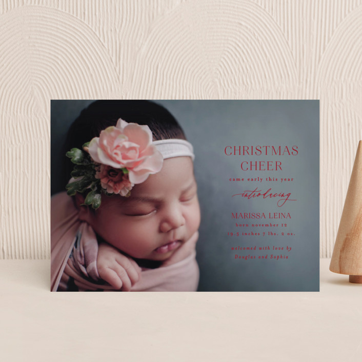 """""""Early Cheer"""" - Holiday Birth Announcement Postcards in Cloud by Ashlee Townsend."""