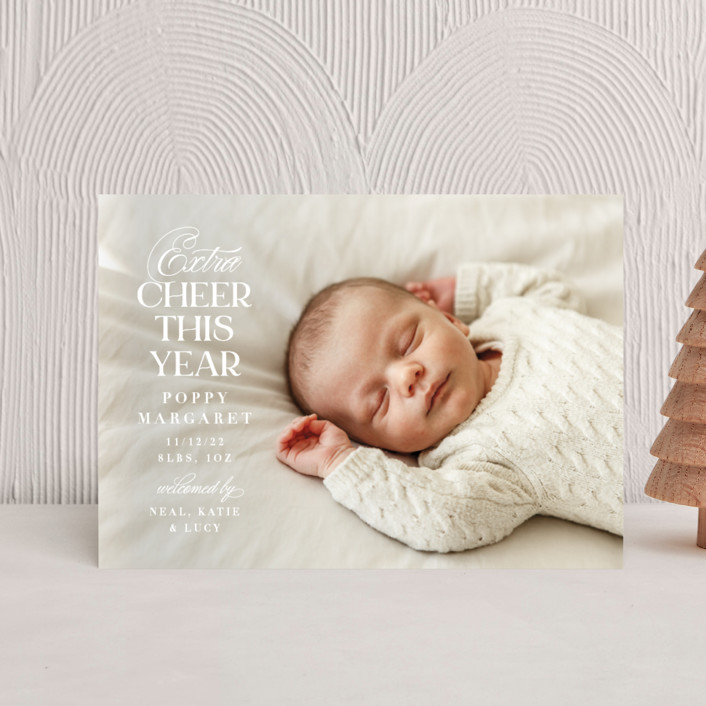 """""""Extra Cheer"""" - Holiday Birth Announcement Postcards in Icing by Olivia Raufman."""