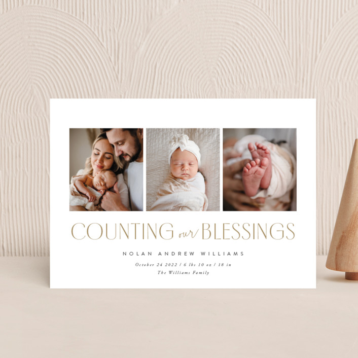 """""""Counting Those Blessings"""" - Holiday Birth Announcement Postcards in Snow by Robert and Stella."""