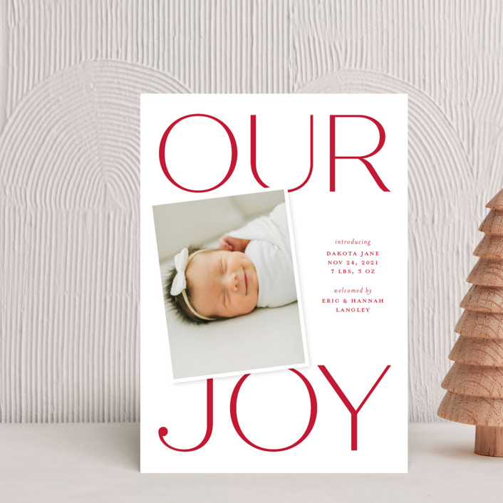 """""""Our Greatest Joy"""" - Holiday Birth Announcement Postcards in Poinsettia by Sandra Picco Design."""