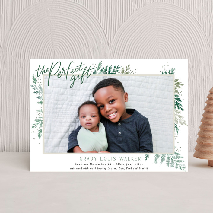 """""""The Perfect Gift"""" - Holiday Birth Announcement Postcards in Pine by Alethea and Ruth."""