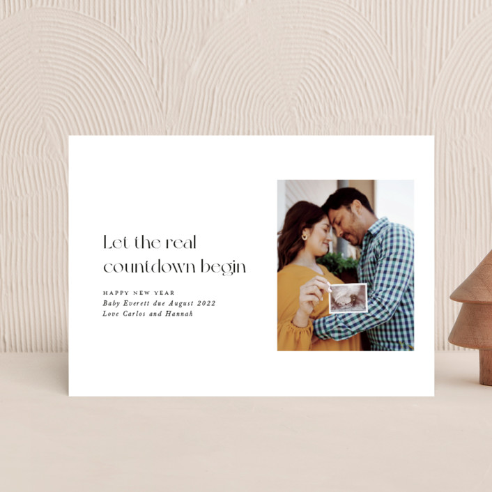 """""""Real Countdown"""" - Holiday Birth Announcement Postcards in Ink by Caitlin Considine."""