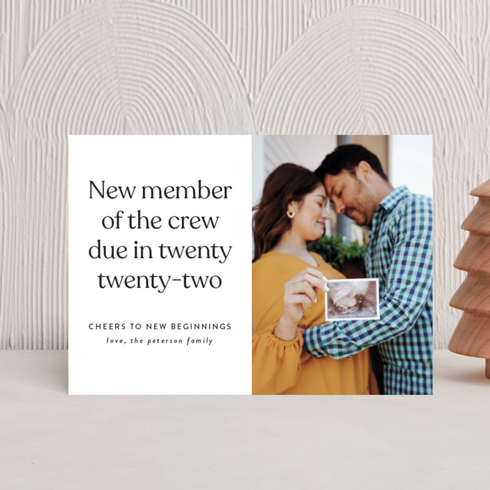 """New Crew"" - Holiday Birth Announcement Postcards in Winter by Heather Schertzer."