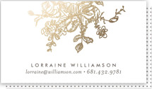 This is a gold business card by Phrosne Ras called Gold Sketched printing on signature.