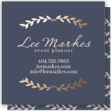 This is a blue business card by Blustery August called Pretty Ink Wreath printing on signature.