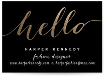 This is a black business card by Hooray Creative called Chic Black and Gold printing on signature.