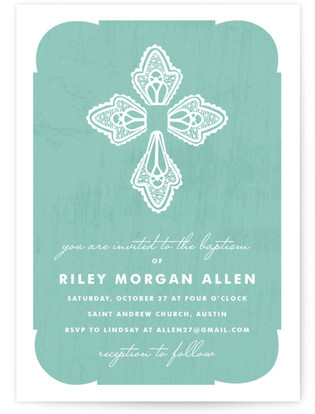 Blessed Lace Baptism and Christening Invitations