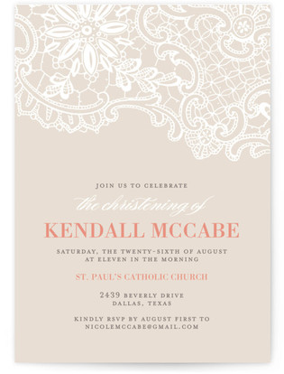 White Lace Baptism and Christening Invitations