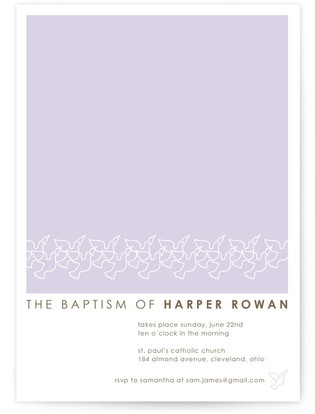 Dove Outline Baptism and Christening Invitations