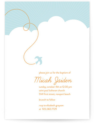 heavenly bird Baptism and Christening Invitations