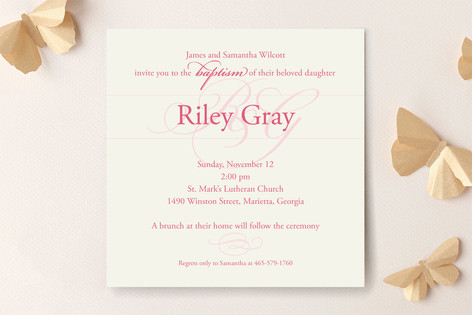 Monogram Baptism & Christening Announcements