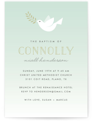Little Dove Baptism and Christening Invitations