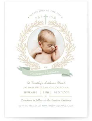 Baptism Wreath Baptism and Christening Invitations