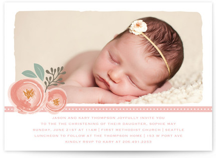 Sweet Ribbon Bouquet Baptism and Christening Invitations