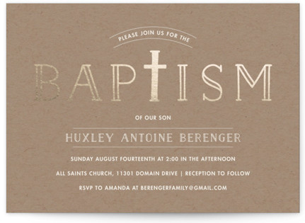 Modern Cross Baptism and Christening Invitations