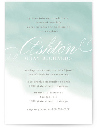 Water Wash Baptism and Christening Invitations