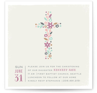 Wildflower Cross Baptism and Christening Invitations