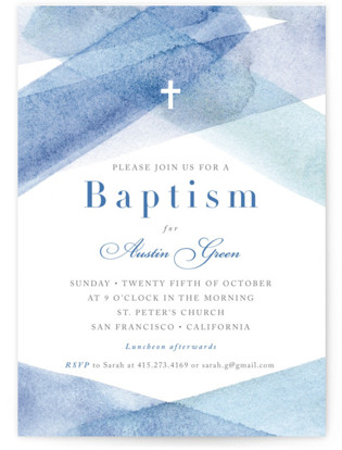 watercolor stripes Baptism and Christening Invitations