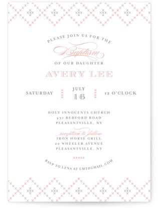 Vintage Handkerchief Baptism and Christening Invitations