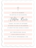 This is a pink baptism and christening announcement by Lauren Chism called Sleek with standard printing on signature in standard.