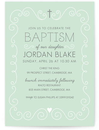 Swirls & Curls Baptism and Christening Invitations