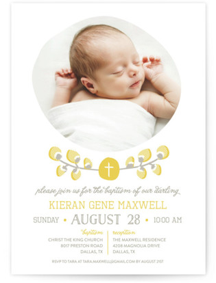 Organic Palms Baptism and Christening Invitations
