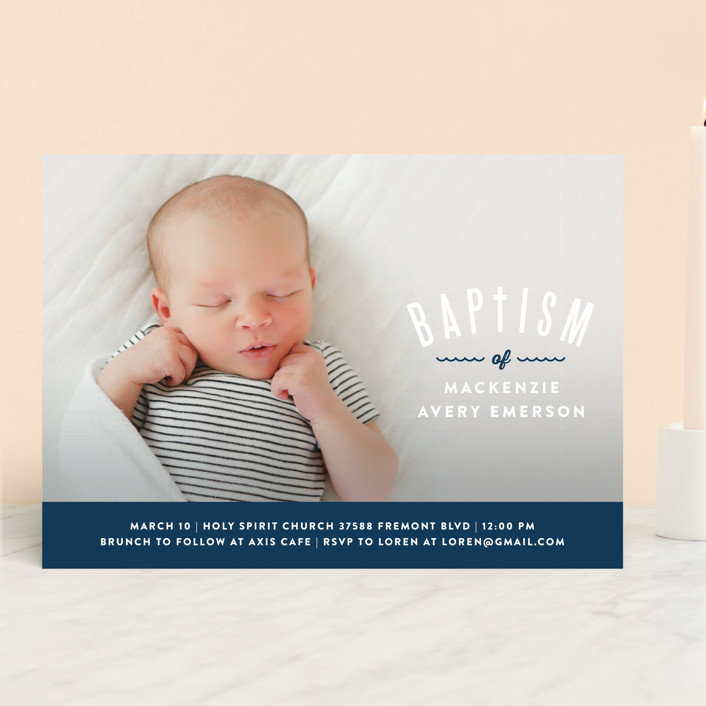 """""""Waves Overlay"""" - Preppy Baptism & Christening Announcements in Wave by Monica Tuazon."""