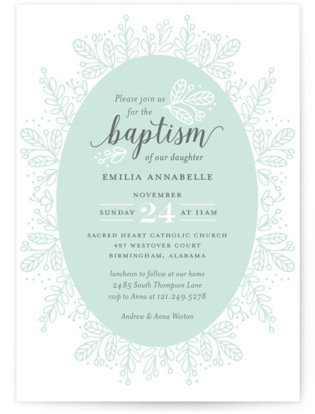 Whimsical Wreath Baptism and Christening Invitations
