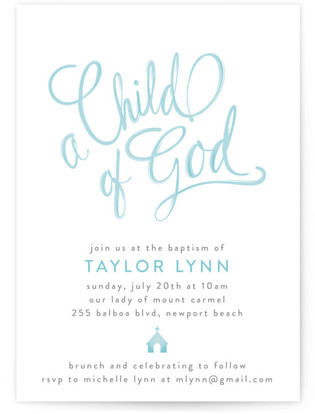 Child Of God Baptism and Christening Invitations
