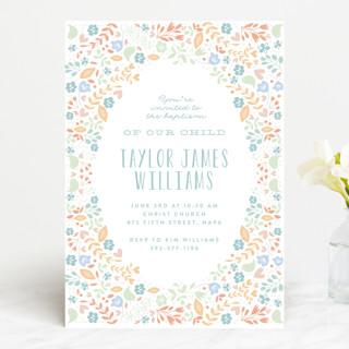 Floral Framed Baptism & Christening Announcements