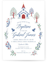 This is a blue baptism and christening announcement by Paper Sun Studio called Charming Chapel Surround with standard printing on signature in standard.