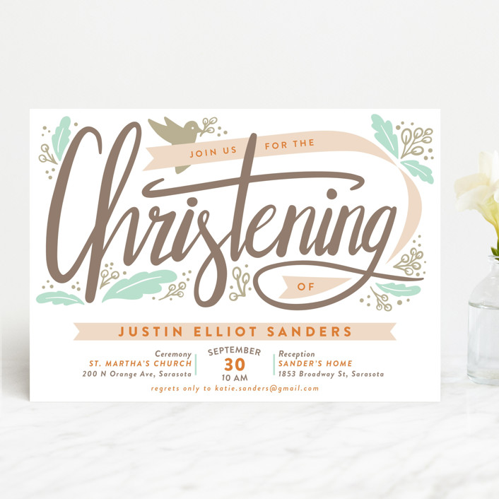 """Christened Garden"" - Modern Baptism & Christening Announcements in Cantaloupe by Mai Jimenez."