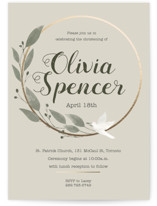 This is a grey baptism and christening announcement by Julia Tincombe called Elegant Christening with standard printing on signature in standard.