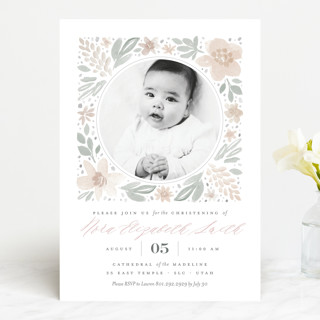 Floral Frame Baptism & Christening Announcements... | Minted