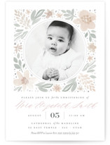 This is a pink baptism and christening announcement by Robert and Stella called Floral Frame with standard printing on signature in standard.