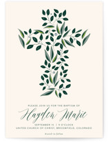 This is a beige baptism and christening announcement by Haley Warner called Eden with standard printing on signature in standard.