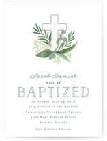 This is a green baptism and christening announcement by Jessie Steury called Heaven & Earth with standard printing on signature in standard.