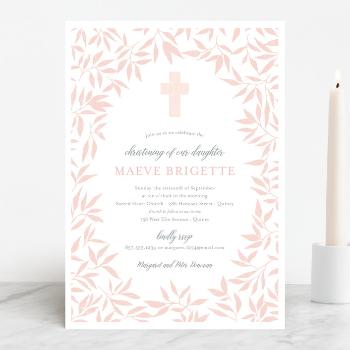 """""""Blessed Laurels"""" - Baptism & Christening Announcements in Blush by Paula Pecevich."""