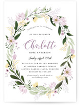 This is a purple baptism and christening announcement by Susan Moyal called Floral Sprinkle with standard printing on signature in standard.