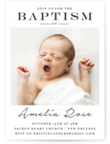This is a black and white baptism and christening announcement by Chasity Smith called Signature Frame with standard printing on signature in standard.